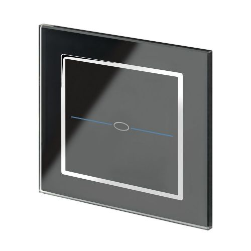 RetroTouch Touch On/Off Light Switch 1 Gang 1 Way Black Glass CT 00060